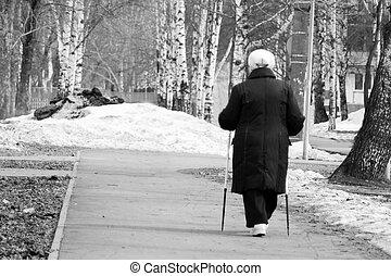 Nordic Walking - elderly woman is hiking, elderly woman in the Park
