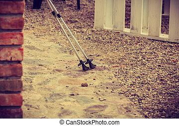Nordic walking equipment detail, outdoor shot - Sport,...