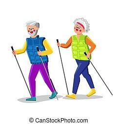 Nordic Walking Exercising Senior Couple Vector Illustration