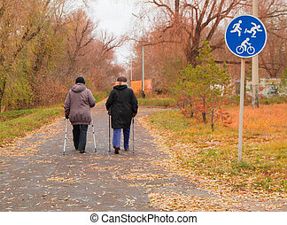 Nordic walking for two elderly women outdoors in autumn Park
