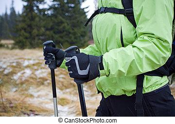 Nordic walking in mountains