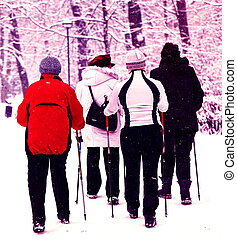 Nordic walking in winter