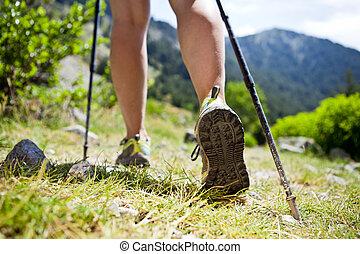 Nordic walking legs in mountains - Woman hiking in...