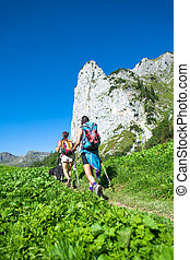 Nordic walking of two work colleagues in the mountain trail