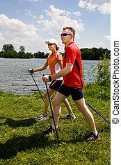 nordic walking - Nordic walking tour in summer