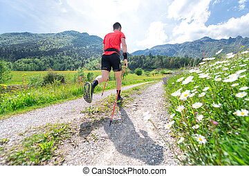 Nordic Walking preparation for ultra trail of a young athlete