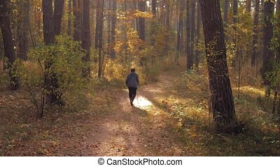 Nordic walking race on autumn trail. Senior woman making nordic walking in the autumn forest. Retired People Healthy Lifestyle Concept