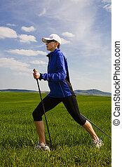 nordic walking - Nordic walking in summer.