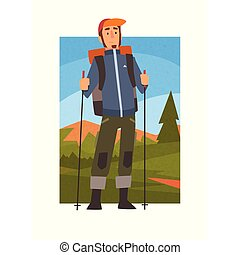 Nordic Walking Tour, Man with Backpack and Poles in Summer Mountain Landscape, Outdoor Activity, Travel, Camping, Backpacking Trip or Expedition Vector Illustration
