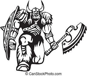 nordico, viking, -, vettore, illustration., vinyl-ready.