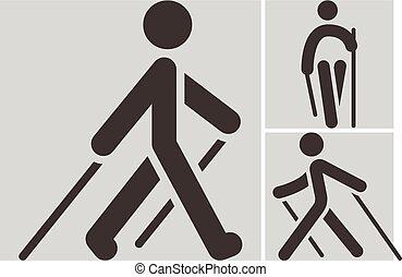 nording, camminare, icone