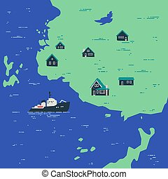 nordique, coast., nature, country., océan, paysage
