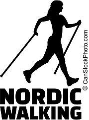 nordique, marche, femme, à, mot