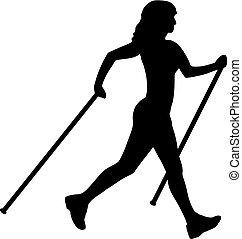nordique, marche, femme, silhouette