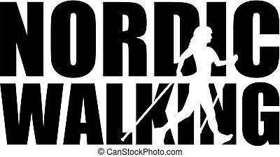 nordique, marche, mot, à, silhouette, coupure