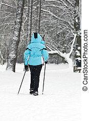 nordique, marche, sur, neige