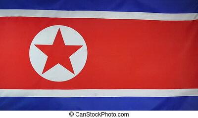 nordkorea, fahne, echte , stoff, schließen