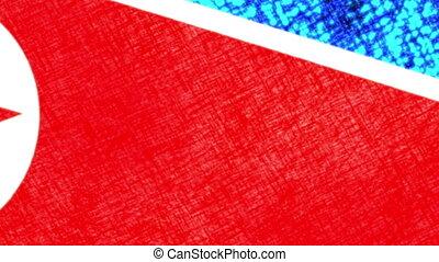 nordkorea, grunge, fahne
