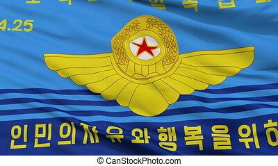 nordkorean, völker, armee, luftwaffe, fahne, closeup,...