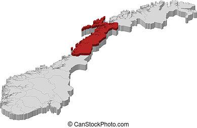 nordland, kaart, aangepunt, noorwegen