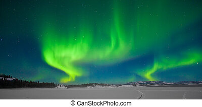 nordlig lyser, (aurora, borealis)