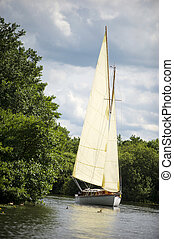 Norfolk Broads sail boat sailing down a river with ducks