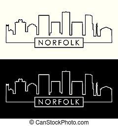 Norfolk city skyline. Linear style. Editable vector file.