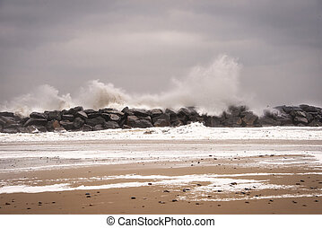 norfolk, hiver, être, britannique, côte, storm., battu, sérieux, problème, érosion