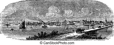 Norfolk in England, UK, vintage engraved illustration