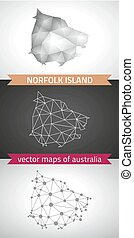 Norfolk Island collection of vector design modern maps, gray and black and silver dot contour mosaic 3d map