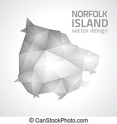 Norfolk Island vector grey shadow geometry triangle map