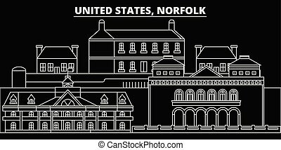 Norfolk silhouette skyline. USA - Norfolk vector city, american linear architecture, buildings. Norfolk travel illustration, outline landmarks. USA flat icons, american line banner