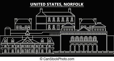 Norfolk silhouette skyline. USA - Norfolk vector city, american linear architecture, buildings. Norfolk travel illustration, outline landmarks. USA flat icons, american line banner