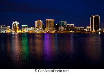 Norfolk, Virginia skyline at dusk with Christmas lights.