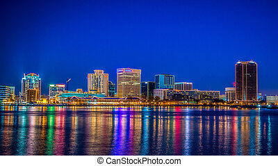 Downtown Norfolk Virginia skyline with holiday illumination. As seen from Portsmouth Virginia accross the Elizabeth river. Photo taken just after sunset on Dec. 1st 2012.