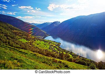 norge, fjord, landskap