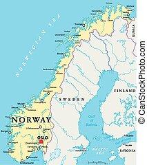 norge, politisk, karta