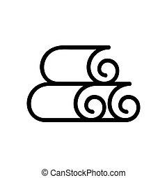 nori, icône, feuilles, vecteur, contour, illustration