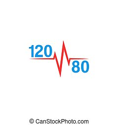 Normal blood pressure 120 to 80 logo and pulse line, ...