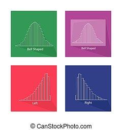 normal, courbe, diagramme, collection, pas, distribution