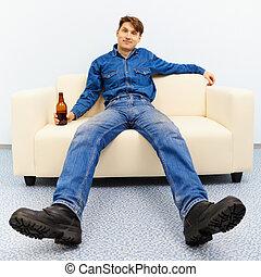 Normal inhabitant resting at home