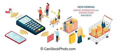 normal, nuevo, gente, distancing, pago, contactless, social