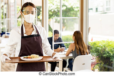 normal., nuovo, cibo, asiatico, servire, cameriera