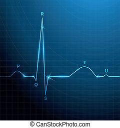 normale, ritmo cuore, sfondo blu, disegno