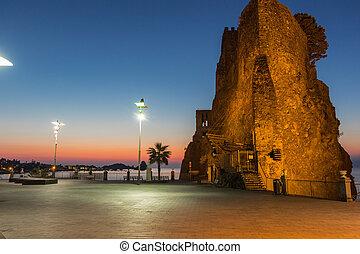 Norman castle at sunrise