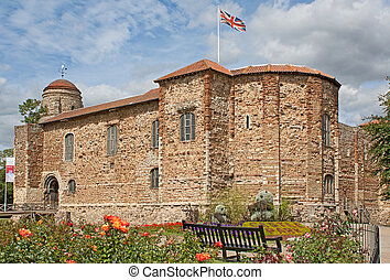 Norman Castle in Colchester in spring - 11th century Norman...
