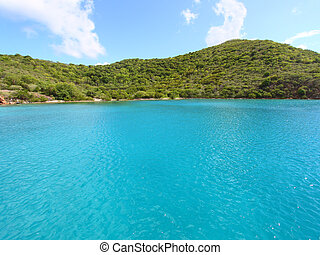 View of the Caribbean coastline of Norman Island - British Virgin Islands.