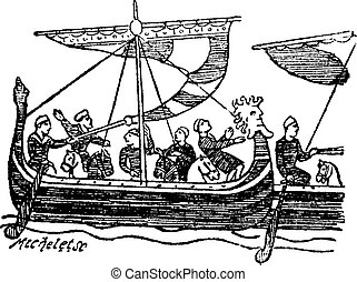 Norman Ship from the Bayeux Tapestry, vintage engraved illustration