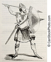Norman soldier old illustration. Created by Strutt,...