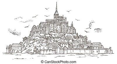 normandía, bosquejo, le, mont, ilustración, mano, france.,...